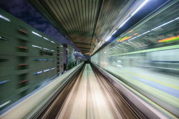 Monorail Motion Blur in Tokyo, Japan