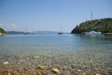 Yachts in the bay of Agios Stefanios, Corfu, Greece