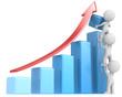 Growth.The dude x 3 helping increase blue bar diagram.