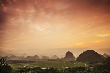 Karst Mountain Landscape in Guilin, China