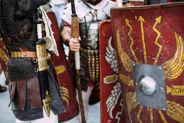 Roman soldiers legionaries standing on city square