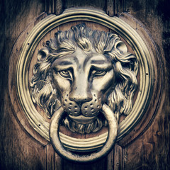 Door knocker, handle - lion head. Vintage stylized.