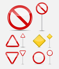 Vector Blank Traffic Sign Set
