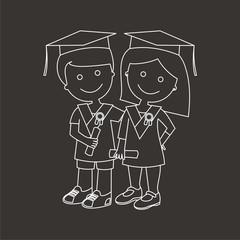 Niños graduados líneas fondo oscuro