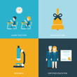 Flat style icon set learning process education concept objects