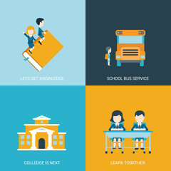 Flat style icon set back school education concept