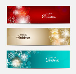 Christmas Snowflakes Website Header and Banner Set Background Ve