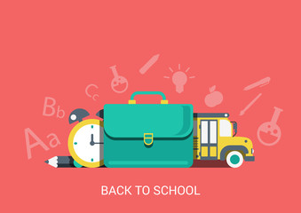 Flat style vector icon back school education concept