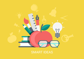 Flat style icon set smart ideas education concept