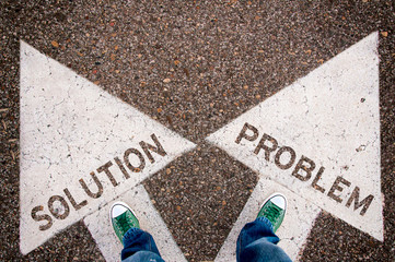Solution and problem dilemma concept
