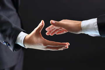 hands of business partners before handshake