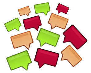 Group of speech design bubbles in three colors