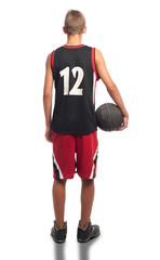 portrait of basketball player on white background