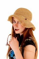 Woman with straw hat.
