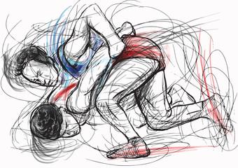 Greco-Roman Wrestling. An hand drawn vector illustration.