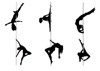 Set of dancing girls striptease
