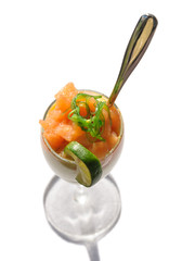 Fresh salad with salted salmon