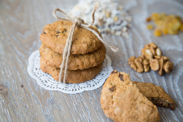 Three oat biscuits with raisins and walnuts