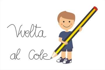 Niño escribiendo vuelta al cole con un lápiz