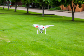 flying drone with camera prepair to fly
