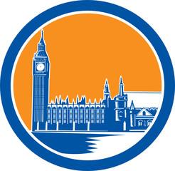 Big Ben Clock Tower Westminster Palace Woodcut Retro
