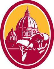 Dome of St Peter's Basilica Vatican Retro