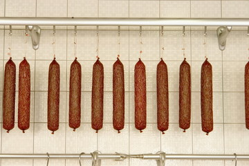 sausages in butcher shop