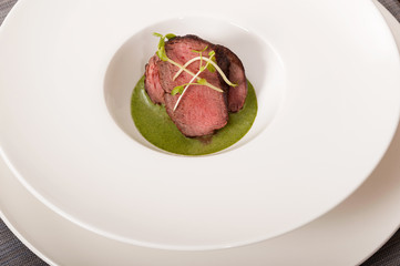 Beef with green sauce