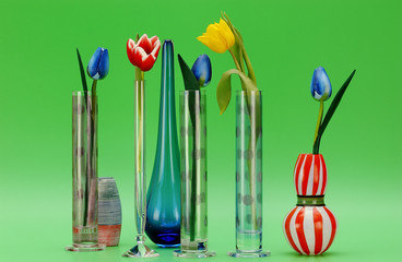 Artificial tulips in glass vases
