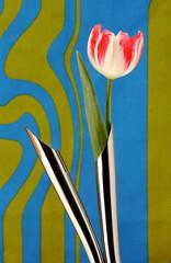 Artificial tulip in metal vases