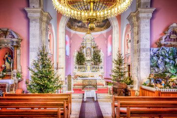 HDR image of the interior of the old church at Christmas