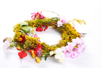 wreath of beautiful summer flowers, isolated on white background