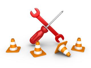 Repair tools behind traffic cones