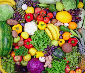 Huge group of fresh vegetables and fruit - High quality studio s