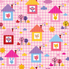 cute baby animals in houses kids pattern