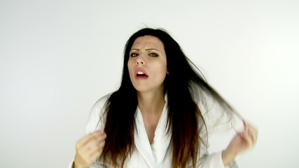 Woman desperate about bad hair day