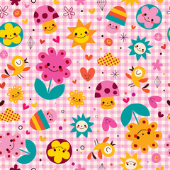cute cartoon mushrooms, flowers, hearts & birds nature pattern