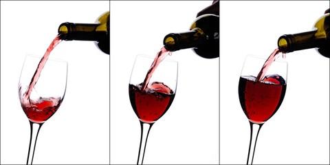 collage di vino rosso versato