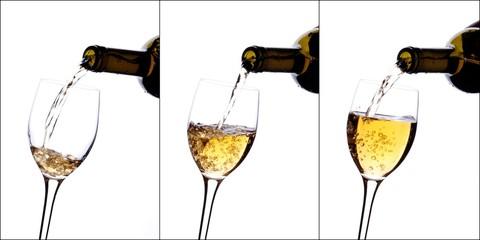 collage di vino bianco versato