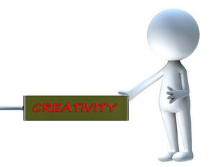 Creativity word in announcement board