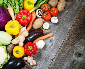 Huge group of fresh vegetables on wooden table - High quality st