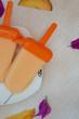 Melting peach ice-cream