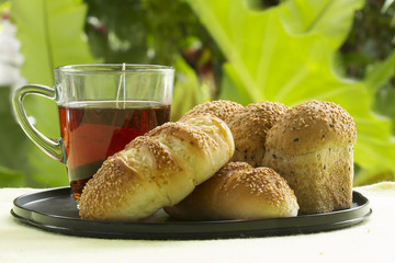 Sesame and garlic bread served with Hot Tea