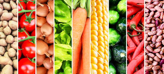 Vegetable collage - Group of various fresh vegetables
