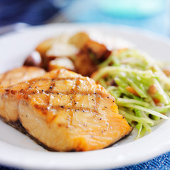 grilled salmon with asian slaw and roasted potatoes