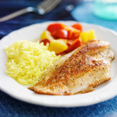 fried tilapia filet with yellow rice and colorful bell peppers