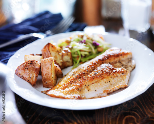 Fotobehang Vis pan fried tilapia with asian slaw and roasted potatoes