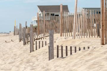 dunes fencing along outer banks of north carolina in cape hatter