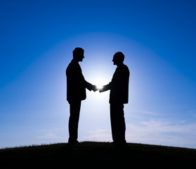 Business Agreement Outdoors and Sunset