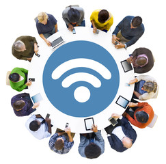 Diverse People Using Devices with Diverse Symbol